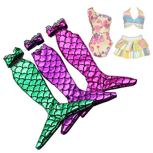 Barbie Halloween Outfit (Tanosy 3 Sets Doll Mermaid Swimsuits +2 Bathing Suits Summer Bikini Swimwear Doll Beach Bikini Bathing Clothes for 11.5
