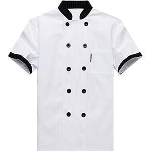 Nanxson(TM) Veste Blouse Uniforme De Travail Manches Courtes Pour Cuisinier Serveur CFM0007