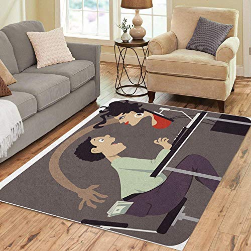 Semtomn Area Rug 5' X 7' Voluptuous Woman Attempting to Steal Money from Internet Dating Home Decor Collection Floor Rugs Carpet for Living Room Bedroom Dining Room
