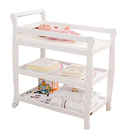 cd55cbd120dc Baby Changing Table with Hamper White Wood, Nursery Changing Station Dresser  Organizer for Infant: Amazon.ca: Home & Kitchen
