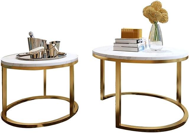 Table XIA 2 Conjuntos De nórdica Redonda de mármol Mesa Creativo Moderno de la Sala Hierro Forjado Mesa pequeña: Amazon.es: Hogar