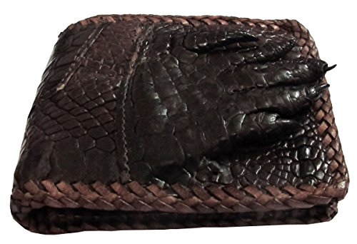 (CHEAPEST) GENUINE FOOT CROCODILE LEATHER BIFOLD WALLET STITCHES PER PATTERN Crocodile Pattern Fine Leather