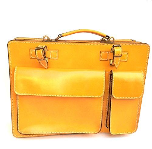 Classic Porta Cartella Superflybags XL Pelle Made documenti giallo modello Borsa in 38x27x10 Vera Italy qE5rw5vW6