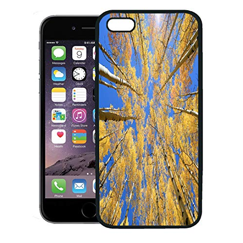 Semtomn Phone Case for iPhone 8 Plus case,Blue Mountain Abstract of Golden Aspen Tree in Snowmass Wilderness Area Colorado Orange America iPhone 7 Plus case Cover,Black