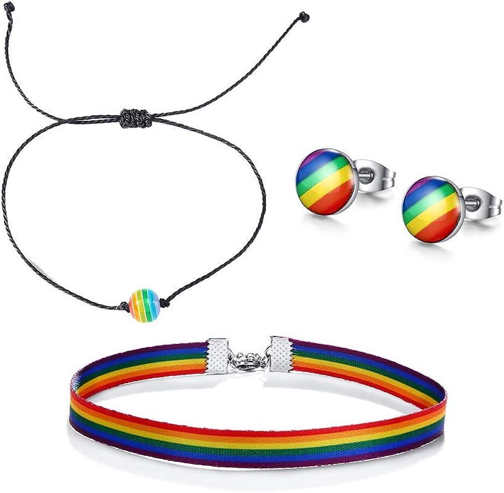 Necklace Earrings 4Pcs Gay Lesbian Rainbow Pride Jewelry Sets,Bracelet