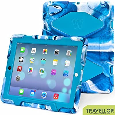 iPad Cases,iPad 2 Case,iPad 4 Case,TRAVELLOR®[Heavy Duty] iPad Case,Three Layer Armor Defender And Full Body Protective Case Cover With Kickstand And Screen Protector for iPad 2/3/4 - Navy/Blue