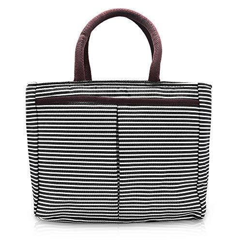 JTX Insulated Striped Lunch Bag Tote Bag Reusable Lunch Organizer Lunch Cooler Bag with Holder Perfect for Adults Work/School (Striped Cooler)