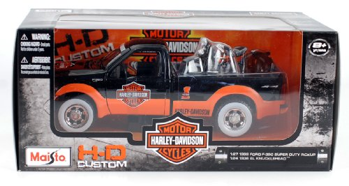 1999 Ford F-350 Super Duty Pickup & 1936 El Knucklehead 1:24 Scale (Black/Orange)