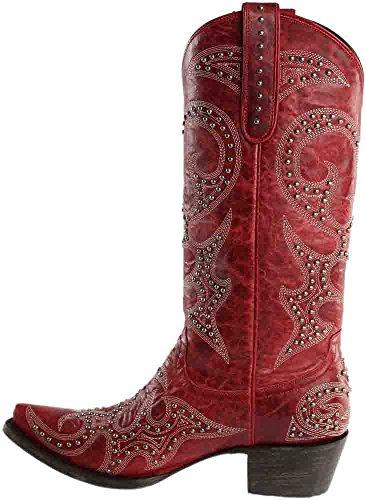 Lane Kvinna Kärlekskrank Stud Vintage Cowgirl Boot Klipp Tå - Lb0199e Röd