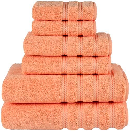 American Soft Linen 6-Piece 100% Turkish Genuine Cotton Premium & Luxury Towel Set for Bathroom & Kitchen, 2 Bath Towels, 2 Hand Towels & 2 Washcloths [Worth $72.95] - Malibu Peach