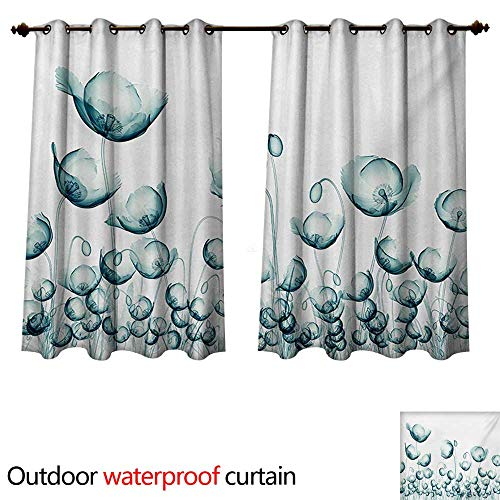WilliamsDecor Flower Outdoor Balcony Privacy Curtain X-ray Picture of Poppy Flowers in a Windy Day Unusual Look into The Nature Art Image W108 x L72(274cm x 183cm) ()