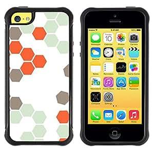 Fuerte Suave TPU GEL Caso Carcasa de Protección Funda para Apple Iphone 5C / Business Style Hive Orange White Hexagon Pattern