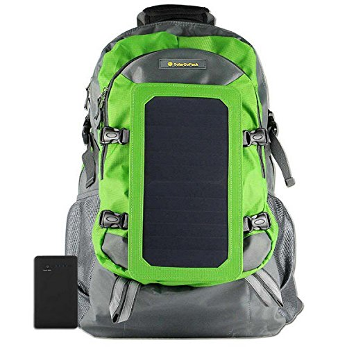 SolarGoPack Solar Powered Backpack / 7 Watt Solar Panel and 10K mAh Charging Battery Daypack / Phone and Electronic Device Power Charger Back Pack / Light Green