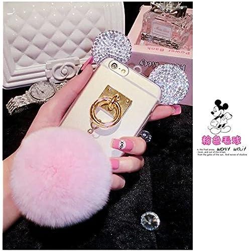 S7 edge Case,MAX-BLV Galaxy s7 edge Bling Rhinestone Crystal Clear Rabbit Fur Puffer Ball Tassel Pendant Mouse Ear Case For Samsung Galaxy S7 edge Sales