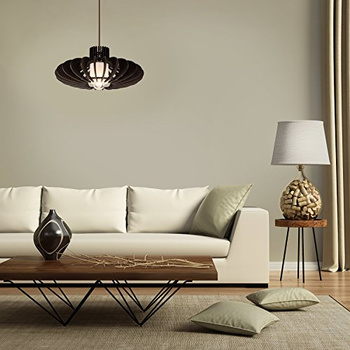 MAYKKE Oban Medium Wooden Pendant Lamp | Lantern Style with Dark Brown Rings, Hanging Light with Adjustable Cord | Walnut Wood Finish, MDB1040201 by Maykke (Image #6)