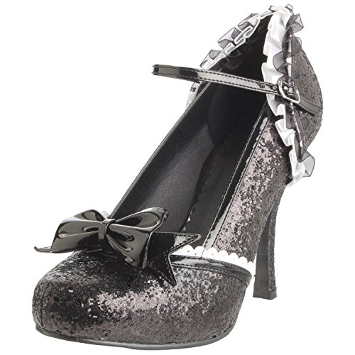 4 Inch High Heel Womens Shoes Glitter Ruffle Bow Mary Jane Pumps Black T0XoDI
