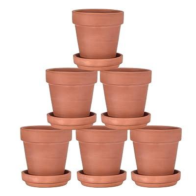 "shamoluotuo Mini 6PCS 3.93"" Ceramic Flower Pot Garden Planters Modern Minimalist Ceramic Succulent Small Clay Terracotta Pot with Tray Drainage Plug Planter Pot/Window Box w/Saucer (3.93"", Clay) : Garden & Outdoor"
