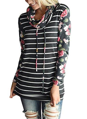 Sidefeel Floral Sleeve Hoodie Sweatshirt