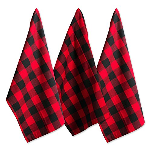 DII Cotton Buffalo Check Plaid Dish Towels, (20x30'', Set of 3) Monogrammable Oversized Kitchen Towels for Drying, Cleaning, Cooking, & Baking - Red & Black by DII (Image #2)