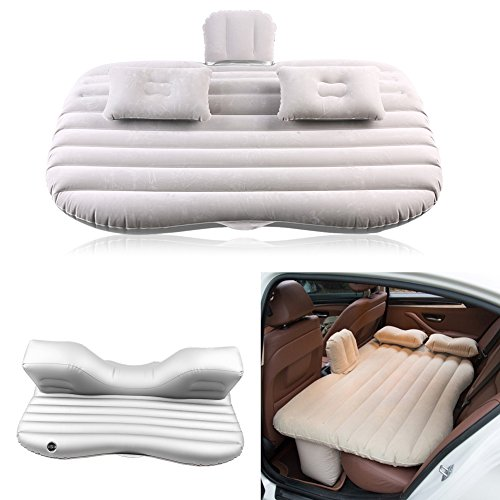 Qiilu Universal Car Travel Inflatable Air Bed, Portable Mattress Cushion Camping Travel Rest Sleep for Most Cars, Truck, Sedans SUV and Mini Van Back Seat (Silver)