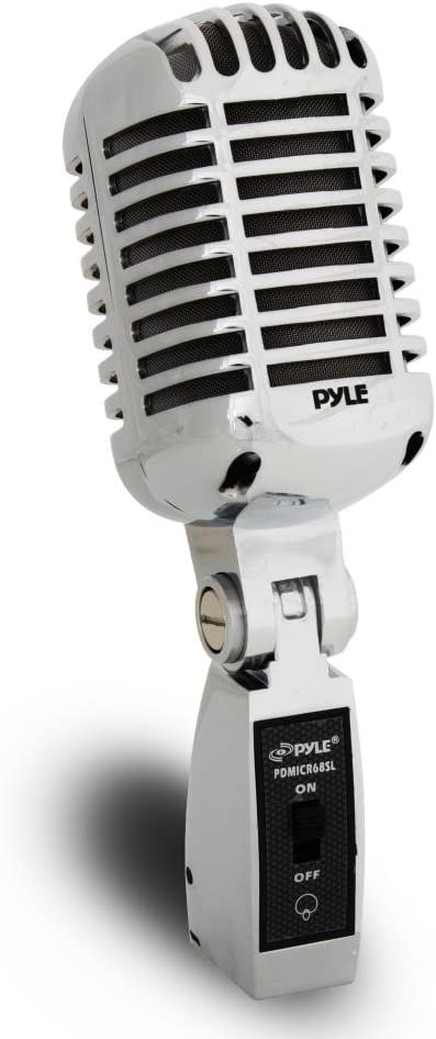 Pyle Classic Retro Dynamic Vocal Microphone - Old Vintage Style Metal Unidirectional Cardioid Mic with XLR Cable - Universal Stand Adapter - Live Performance Studio Recording - PDMICR68SL (Silver): Musical Instruments
