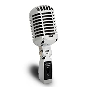 Classic Retro Dynamic Vocal Microphone - Old Vintage Style Metal Unidirectional Cardioid Mic with XLR Cable - Universal Stand Adapter - Live Performance Studio Recording - Pyle Pro PDMICR68SL (Silver)