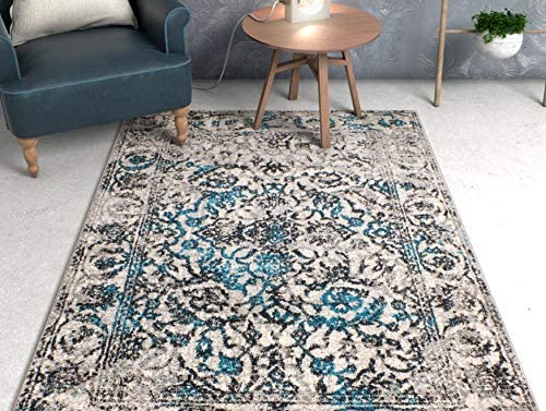 Well Woven Yorkshire Blue Sarouk Vintage Modern Casual Traditional 8×11 7 10 x 10 6 Area Rug Thick Soft Plush Shed Free