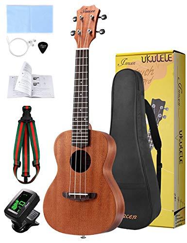 Concert Ukulele, 23 Inch Soprano Ukulele for Beginners, Waterproof Resistance Mahogany Ukuleles, Beginner Ukulele with Free Video Ukulele Lessons, Gig Bag, Tuner, Strap, String and Picks