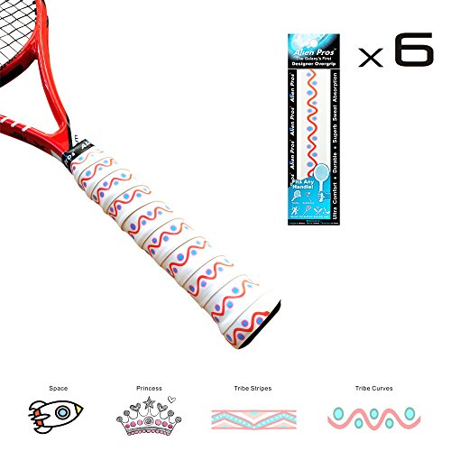 Foosball Handle Wraps (Alien Pros X-Dry Tennis Overgrip Tape Perfect for Your Tennis Racket, Racquetball Grip, Squash Racquet and More (Tribal Curves, 6-Pack))