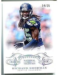 Richard Sherman 2013 National Treasures NFL Silver Card No # 89 Seattle Seahawks Parallel Football Trading Card #14/25