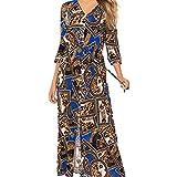 yijiamaoyiyouxia Fashion Women Boho Maxi Dress Print Patchwork Deep V Buttons Bandage 3/4 Sleeve Open Hem Beach Long Dress (XXXL, Blue)