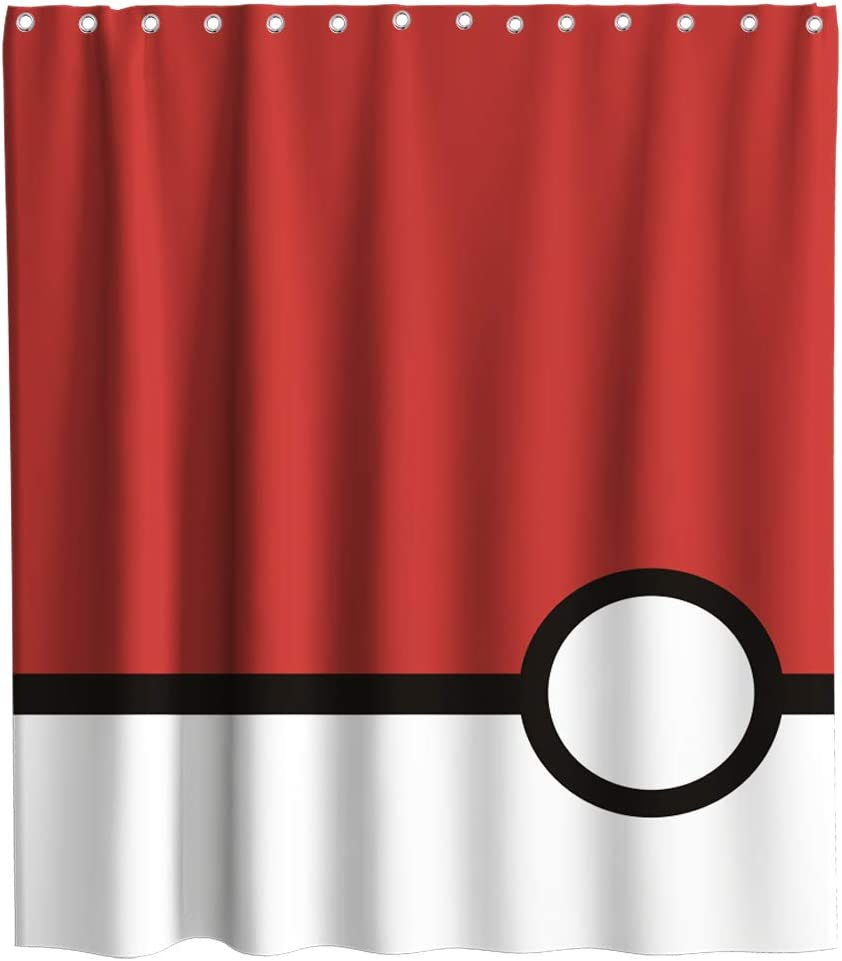 Final Friday Poke Ball Shower Curtains Play The Game Theme Cloth Fabric Bathroom Decor Sets with Hooks Waterproof Washable 70 x 70 inches Red White and Black