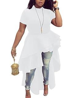 41f9f3ab0a7 Memorose Womens Ruffle High Low Asymmetrical Bodycon Tops Blouse Shirt Dress