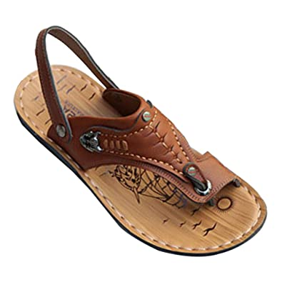 f351139882c972 Amazon.com | Uirend Men Shoes Outdoor Sport Sandals Slides - Flip Flops Non  Slip Dual Use Slippers Leather Beach Summer Casual Shoe Breathable | Sandals