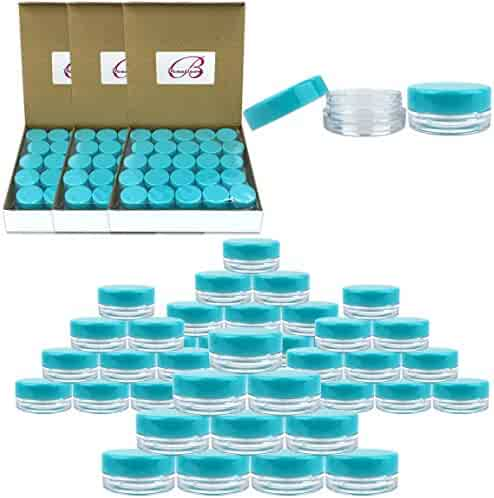 (Quantity: 200 Pieces) Beauticom 3G/3ML Round Clear Jars with TEAL Sky Blue Lids for Scrubs, Oils, Toner, Salves, Creams, Lotions, Makeup Samples, Lip Balms - BPA Free