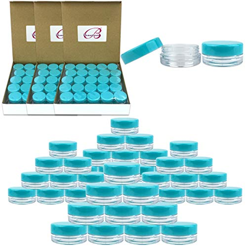 - (Quantity: 200 Pieces) Beauticom 3G/3ML Round Clear Jars with TEAL Sky Blue Lids for Scrubs, Oils, Toner, Salves, Creams, Lotions, Makeup Samples, Lip Balms - BPA Free