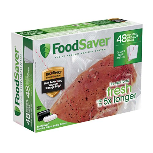 "FoodSaver 8""x11"" 1 Qt, Pre-Cut Food Storage Bags (48 Bags"