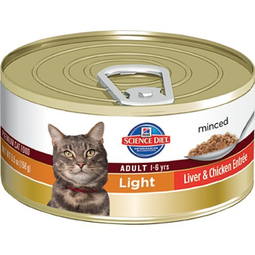 Hill's Science Diet Adult Light Liver and Chicken Entree Minced Cat Food, 3-Ounce Can, 24-Pack, My Pet Supplies