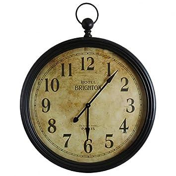 Grande horloge murale géante style ancienne montre a gousset grande pendule ronde en fer et verre