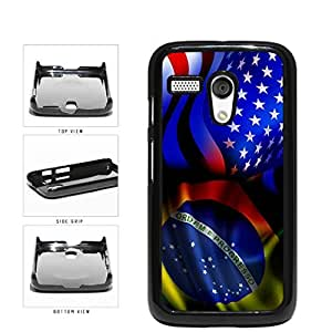 Brazil and USA Mixed Flag Plastic Phone Case Back Cover Moto G