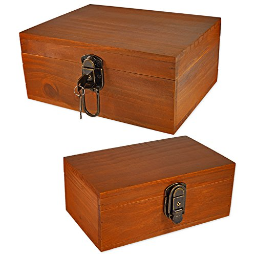 2 Sets Gift Box,Wood Keepsake Box Kit,Icefire Storage Treasure Memory Container,Cabinet Archival Western Rustic with Lock and Key for Card Makeup Tool Pill Candy Photo Hobby Silverware (Retro brown) (Ideas Dvd Holder)