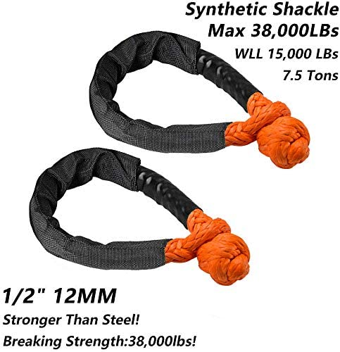 Orange, 2-Pack KUBAKA Synthetic Soft Orange Shackle 1//2 X 22 Inch Rugged Off Road Shackles 41,000 lbs Maximum Break Strength with Protective Sleeve for Off-Road Towing ATV Recovery