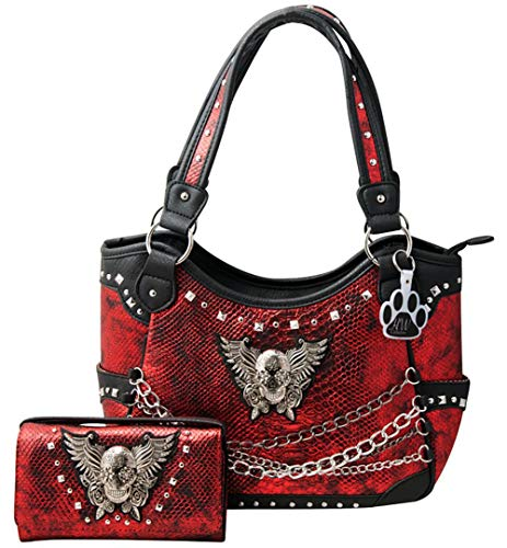 HW Collection Sugar Skull Wings Roses with Chains Purse Concealed Carry Handbag Wallet Set -