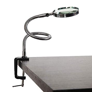 Koimg Manos Libres Lupa con Pie 5 Aumentos Manos Libres Plegable Lupa Mesa Escritorio,lámpara