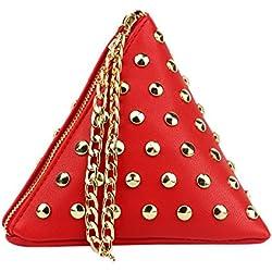 JD Million shop Women's PU Leather Triangle Shape Vintage Fashion Stylish Design Small Casual Bag Purse Famous Brand women Evening Wristlet bag