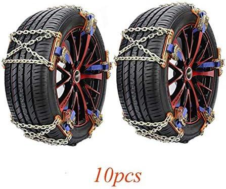 タイヤチェーン 10のスノーチェーンアンチスキッド、タイヤ幅165〜285ミリメートルロックbucle滑り止めチェーンのための緊急トラクション (Color : 10pcs, Size : S(165-205MM))