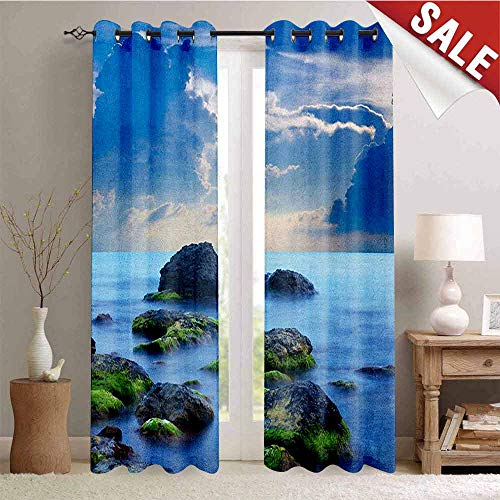 Beach, Drapes for Living Room, Sea Stones on Mystic Seaside Caribbean Shore Photo Majestic Cloudscape, Window Curtain Fabric, W96 x L96 Inch Blue Pale Blue Green ()