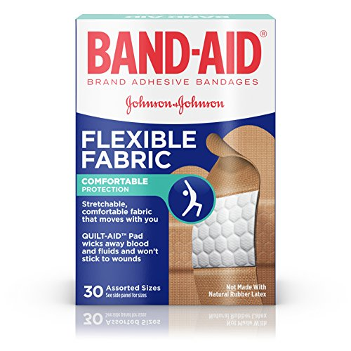 BAND-AID Bandages Flexible Fabric Assorted Sizes 30 Each (Pack of (Each Fabric)