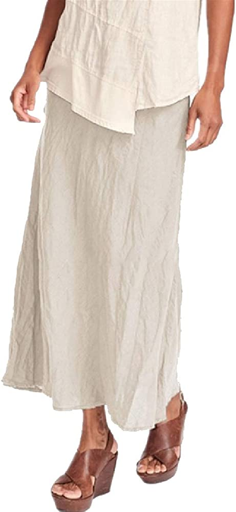Desconocido Maxi Faldas largas Plisadas Sueltas de Lino y algodón ...