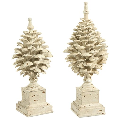 Pinecone Finial (Set of 2 Country Cabin Rustic Glittered Off White Pine Cone Finial Table Top Decorations 15.75